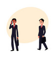 black and caucasian businessmen in business suits vector image vector image