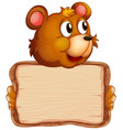 board template with cute bear on white background vector image vector image