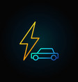car with lightning colorful icon vector image vector image