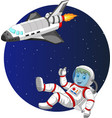 cartoon boy astronaut with space shuttle vector image vector image