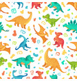 cartoon dino seamless pattern cute triceratops vector image vector image