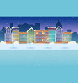 cartoon night winter city snowy background vector image