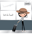 Cartoon Woman travelling with a luggage Bag vector image