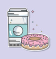 coffee plastic cup and sweet donut vector image vector image