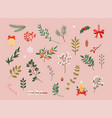 collection christmas decor elements for cards vector image vector image
