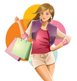 colorful girl shopping vector image