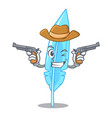 cowboy feather character cartoon style vector image vector image