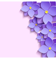 Decorative background with 3d flowers violets vector image