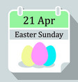 easter sunday wall calendar 2019 april 21 icon vector image