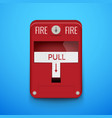 fire alarm system pull danger fire safety box vector image vector image