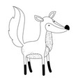 fox cartoon in monochrome silhouette on white vector image vector image