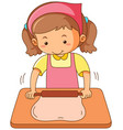 girl rolling flour dough on wooden board vector image vector image
