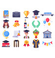 graduation day icons college graduate students vector image vector image