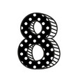 hand drawn number 8 with white polka dots on black vector image vector image
