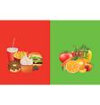 healthy and unhealthy food vector image vector image