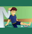 injured kid in doctor office vector image vector image