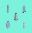 isometric building set of tower exterior urban vector image vector image