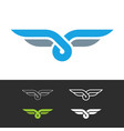 knot style logo with wings two color ropes vector image vector image