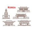 korea architecture facades thin line icons vector image