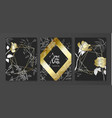 luxury cards collection with marble texture hand vector image