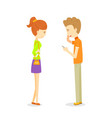 man talking to woman build up friendship young vector image
