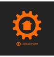 Orange construction company logo vector image
