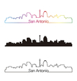 San Antonio skyline linear style with rainbow vector image vector image