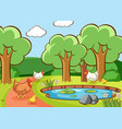 scene with chickens in park vector image vector image