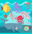 sea life animals cartoon characters underwater vector image