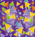 Seamless pattern glowing triangles on a purple vector image vector image