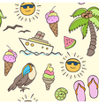 seamless pattern with palm and boat vector image