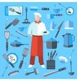 Set cook kitchen elements coffee maker knife vector image