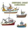 set of fishing vessel in sea vector image