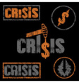 set of grunge of financial crisis and oil price vector image