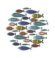 set stylized fish collection cartoon vector image vector image