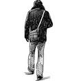 sketch a person leaving vector image vector image