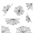 spider web set halloween design isolated on white vector image