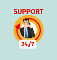 support service circle icon with man vector image