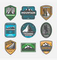 trekking expedition vintage isolated label set vector image vector image
