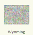 Wyoming line art map vector image vector image