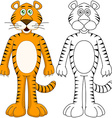 Cute Humanoid Tiger With Lineart vector image