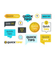 advice shapes quick tips helpful tricks emblems vector image vector image