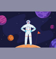 astronaut in space red planet colonization vector image vector image