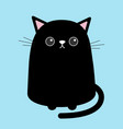 black cute cat sitting kitten cartoon kitty vector image