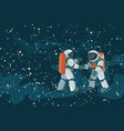 cartoon astronauts meeting and handshake on space vector image vector image