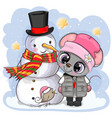cartoon mouse in a knitted cap and snowman vector image vector image