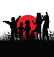 children silhouette in nature with red sun vector image
