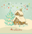 christmas idyllic card small house in snow vector image vector image