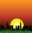 city and the sunset silhouette vector image
