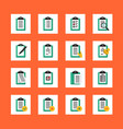 clipboard icon set in flat design style vector image